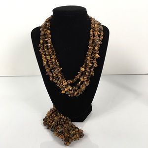 Jewelry - Tigers Eye Chip Long Necklace and Bracelet